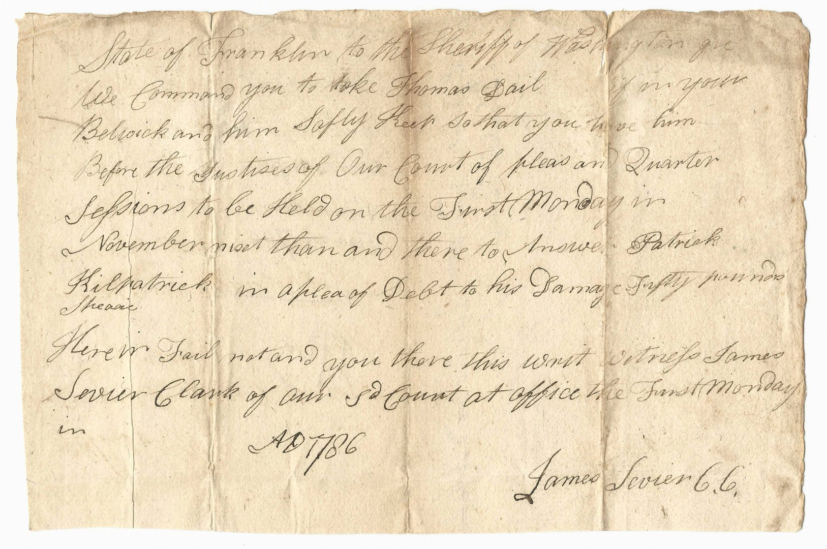 Lot 237: James Sevier Summons, 1786 State of Franklin