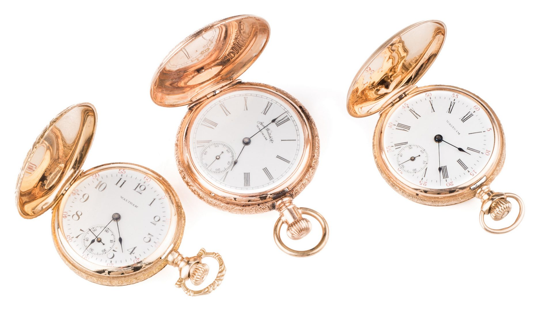 Lot 243: Three 14K AWC Ladies Hunter Watches