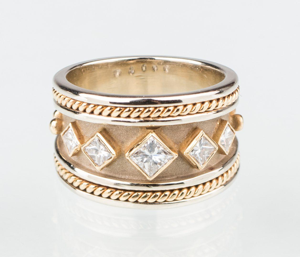 Lot 246: 18K Etruscan diamond band, Samuel Jewels