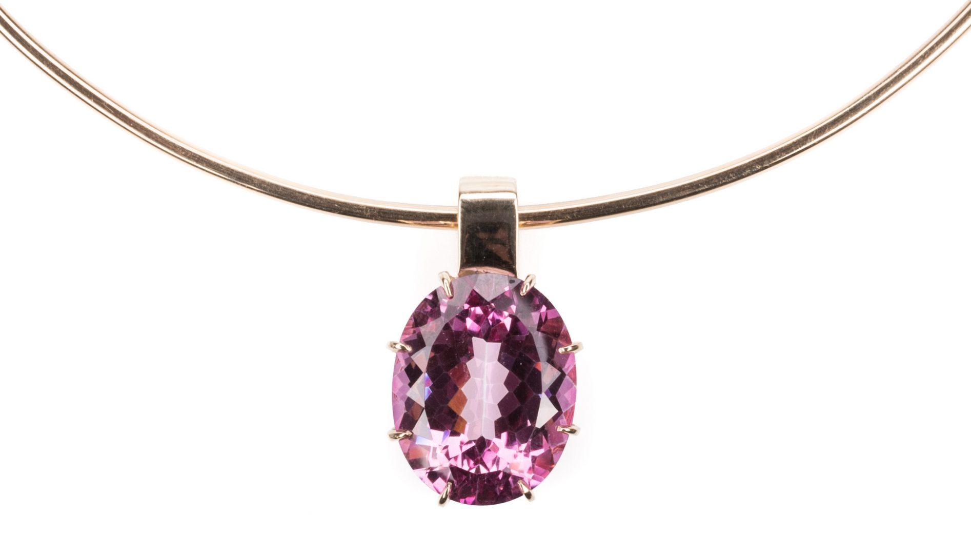 Lot 248: 14K Designer Pink Tourmaline Necklace
