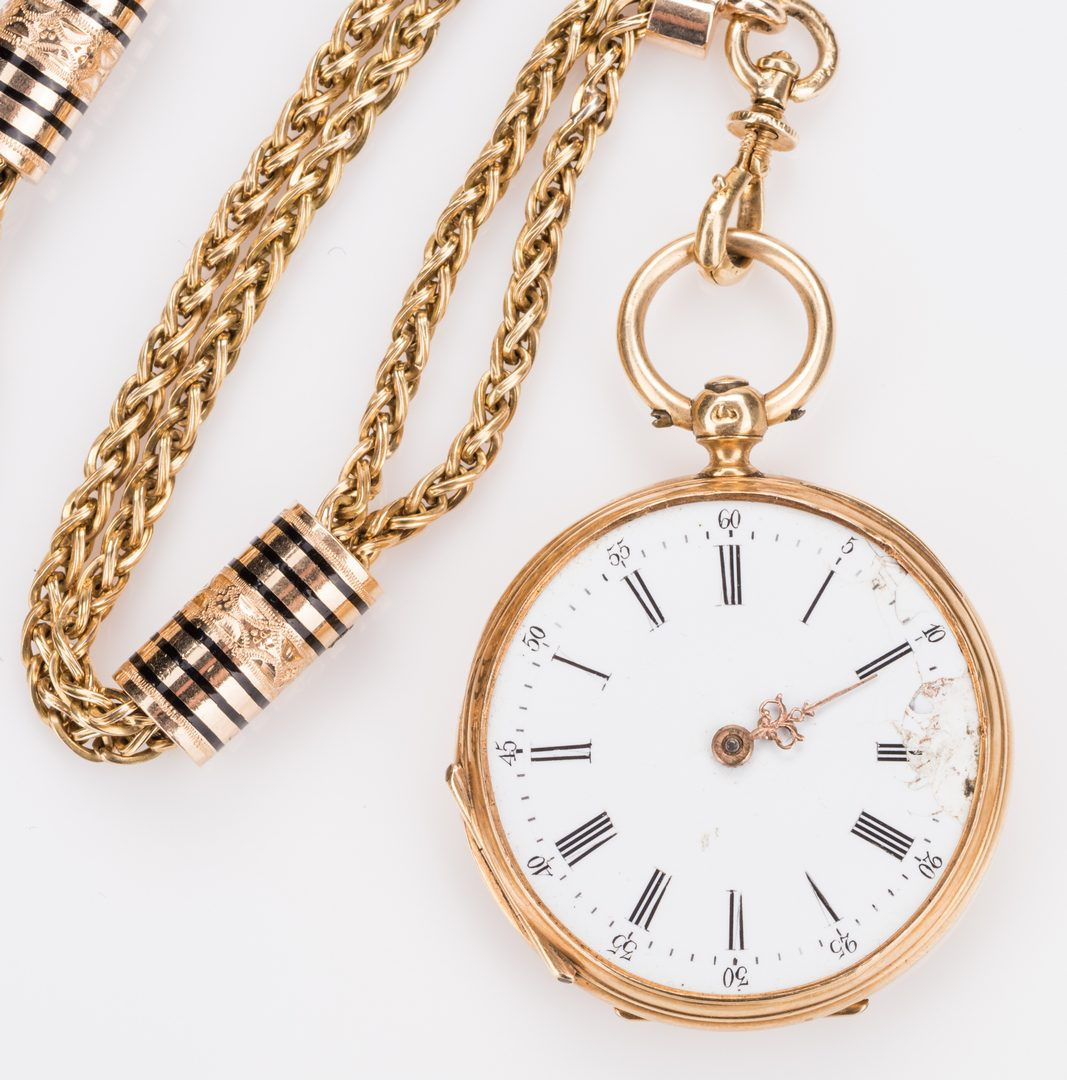 Lot 251: French gold watch chain & Lady's pocketwatch