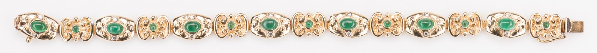 Lot 252: 14K Emerald Bracelet, 23. 8 grams
