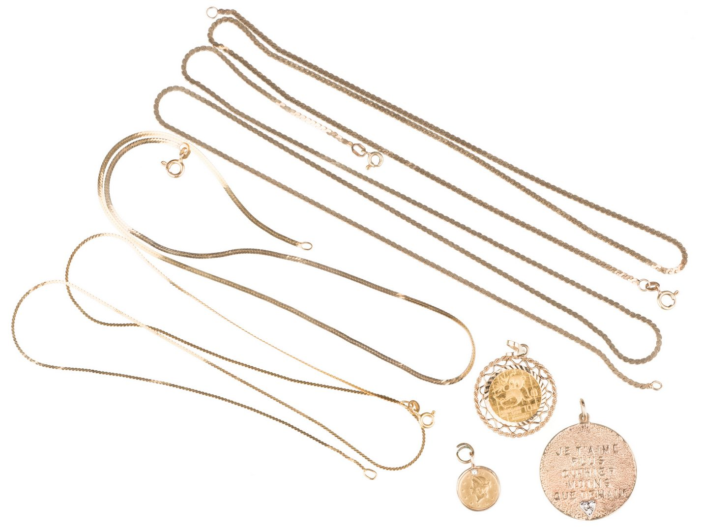 Lot 253: Group 14K Gold jewelry, 7 items inc.