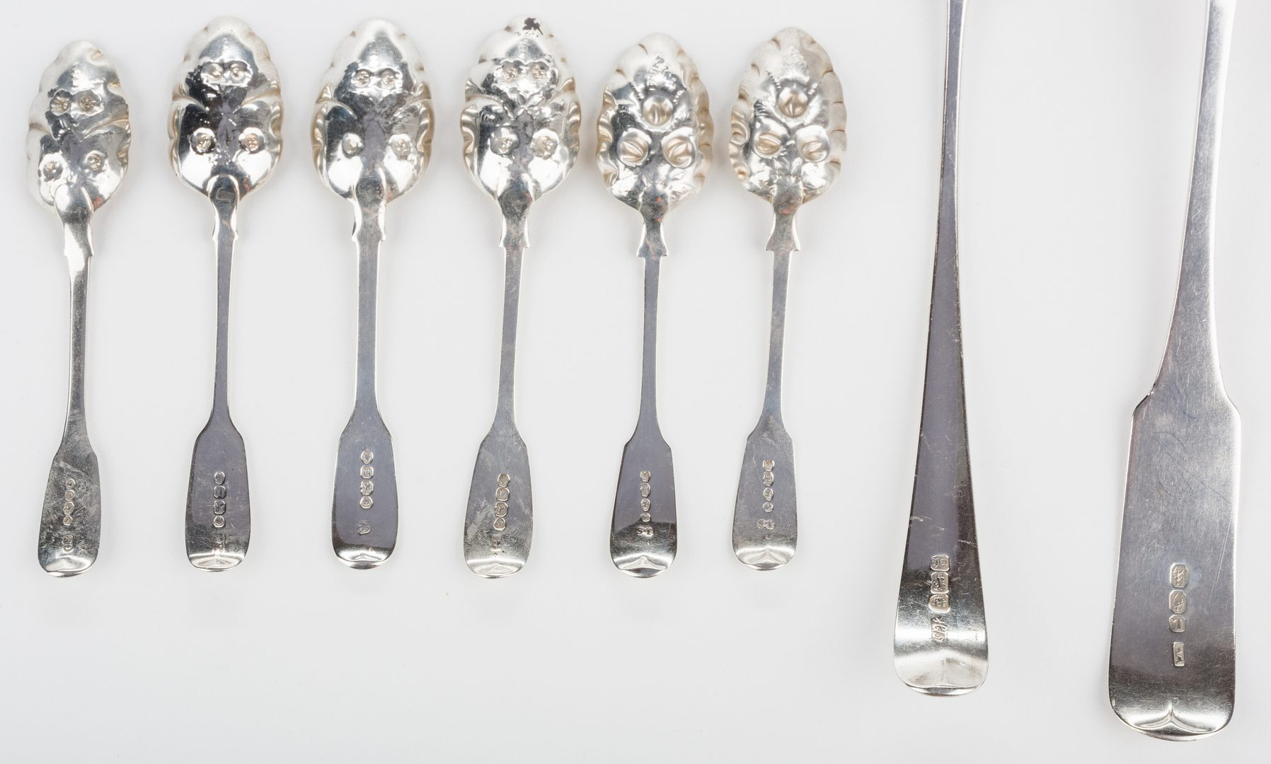 Lot 254: 8 English silver spoons, inc. Hester Bateman