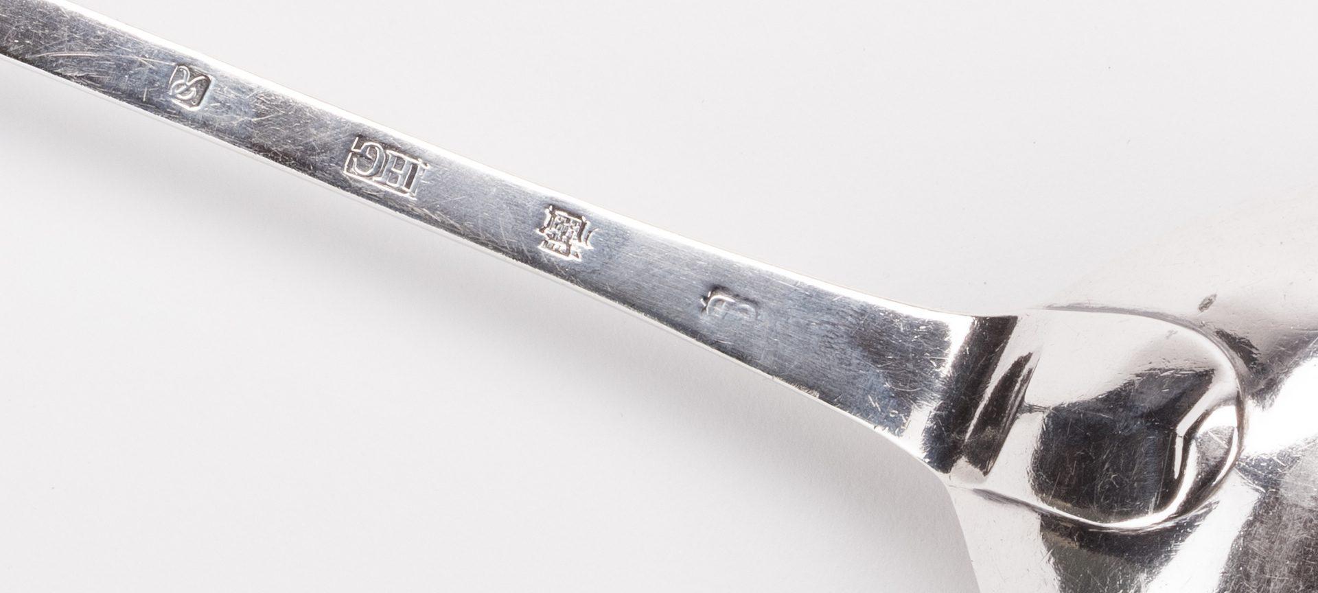 """Lot 255: Scottish George II Basting spoon, 15"""" L"""