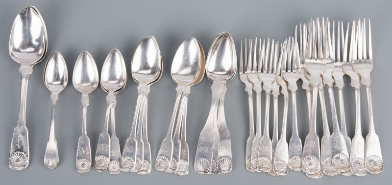 Lot 261: Marshall & Smith Shell Handle Coin Flatware, 33 pcs