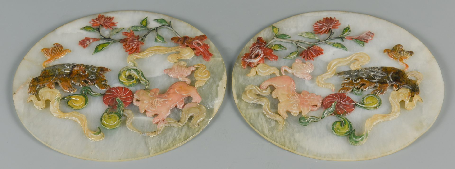 Lot 27: Pair Chinese Inlaid Jade Table Screens