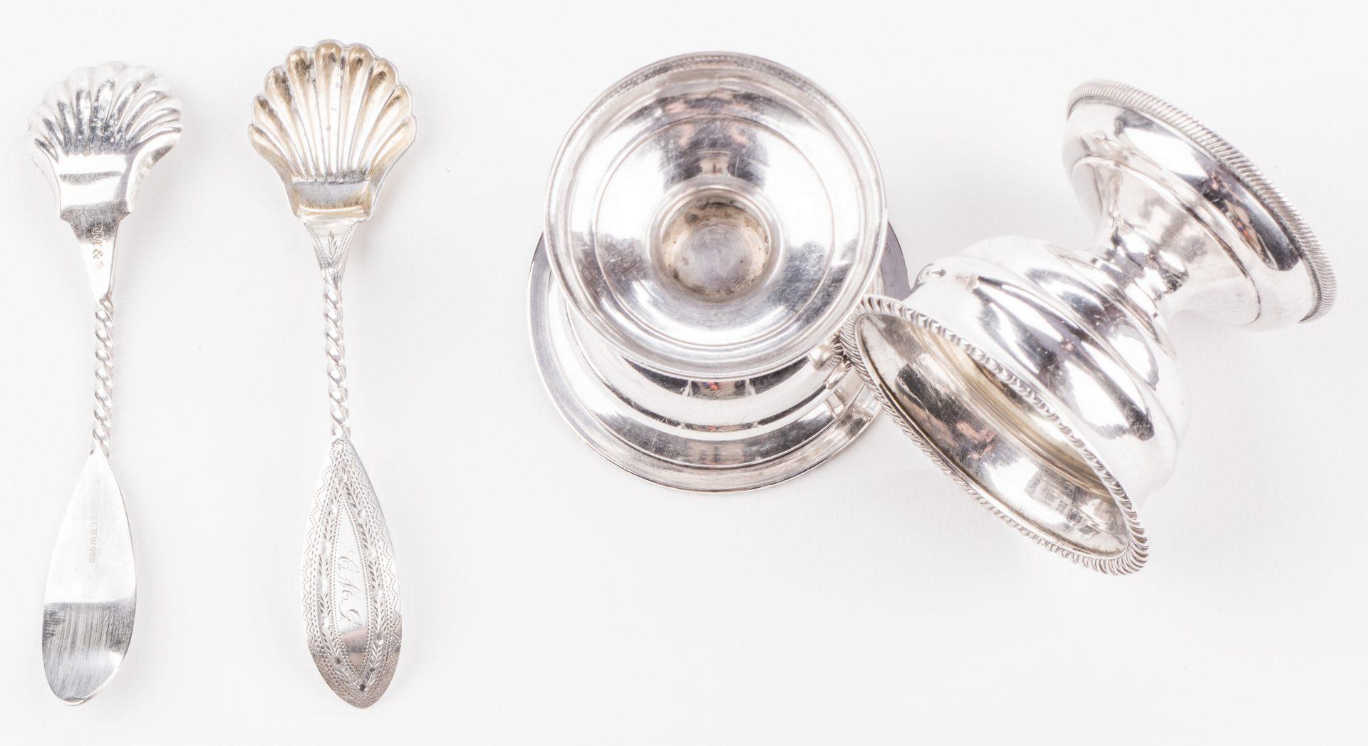 Lot 281: 8 pcs Coin Silver, Norfolk, VA inc. Boxed Salts