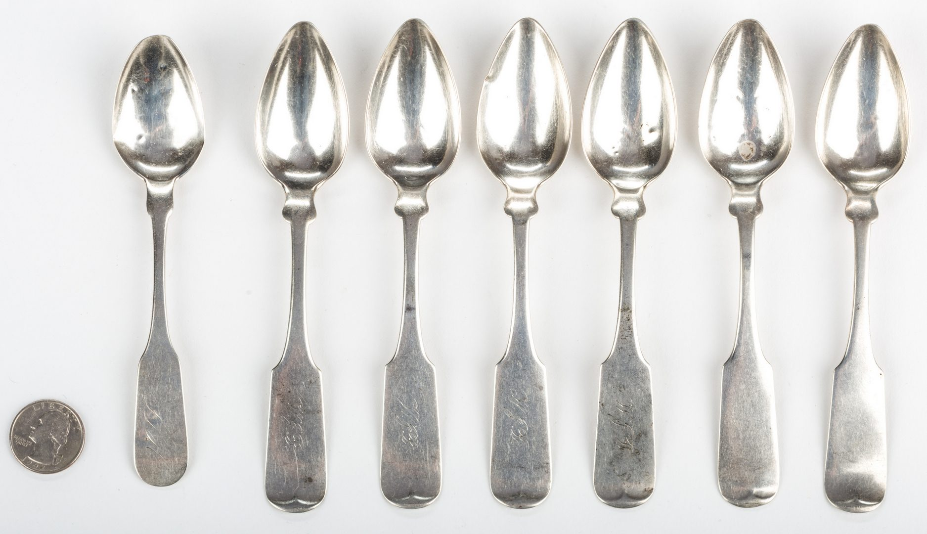 Lot 285: 7 Georgia Related Coin Silver Teaspoons