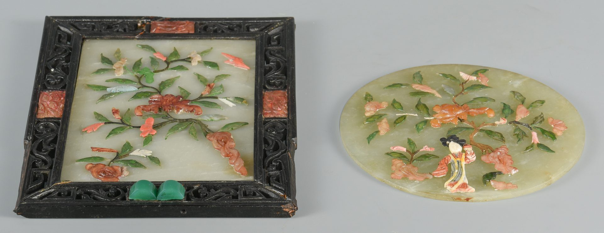 Lot 28: 2 Chinese Hardstone Table Screens