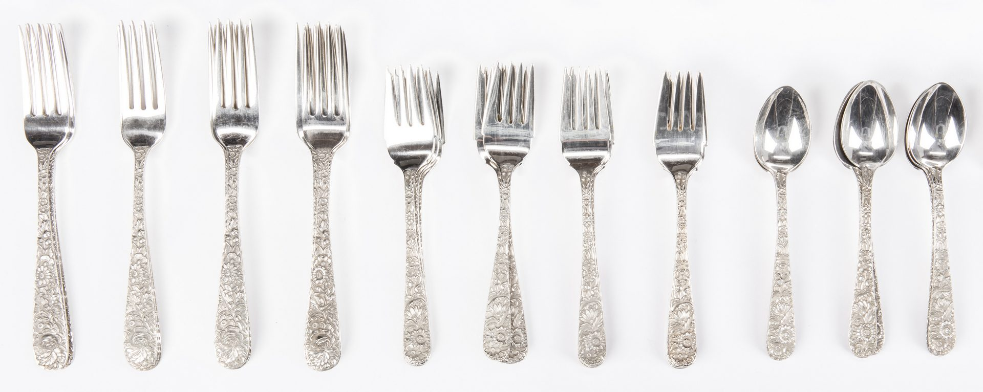 Lot 291: S. Kirk & Son Repousse Flatware, 68 pcs