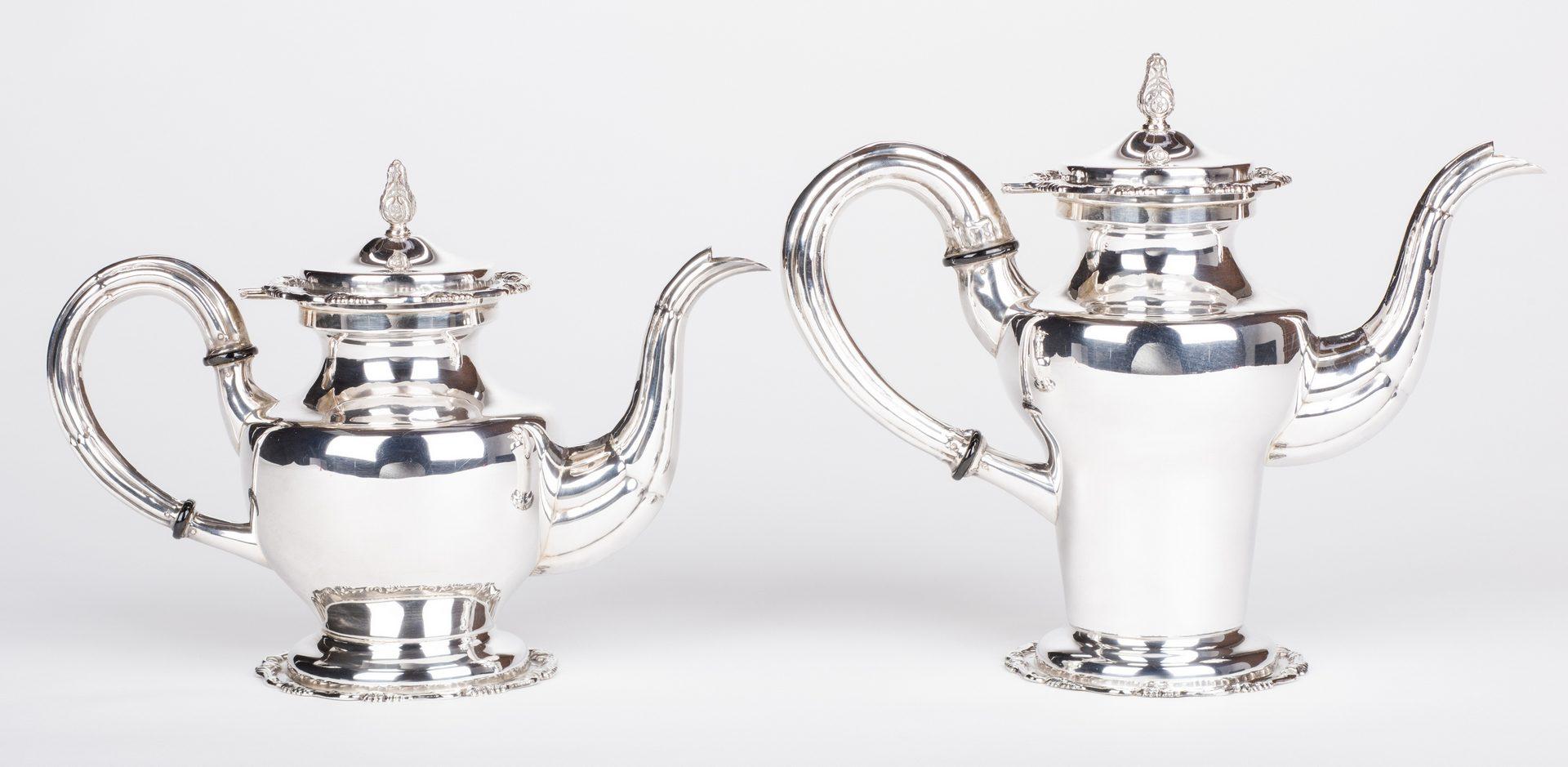 Lot 295: Sterling Silver Tea; Coffee Service w/ Tray, 6 pcs