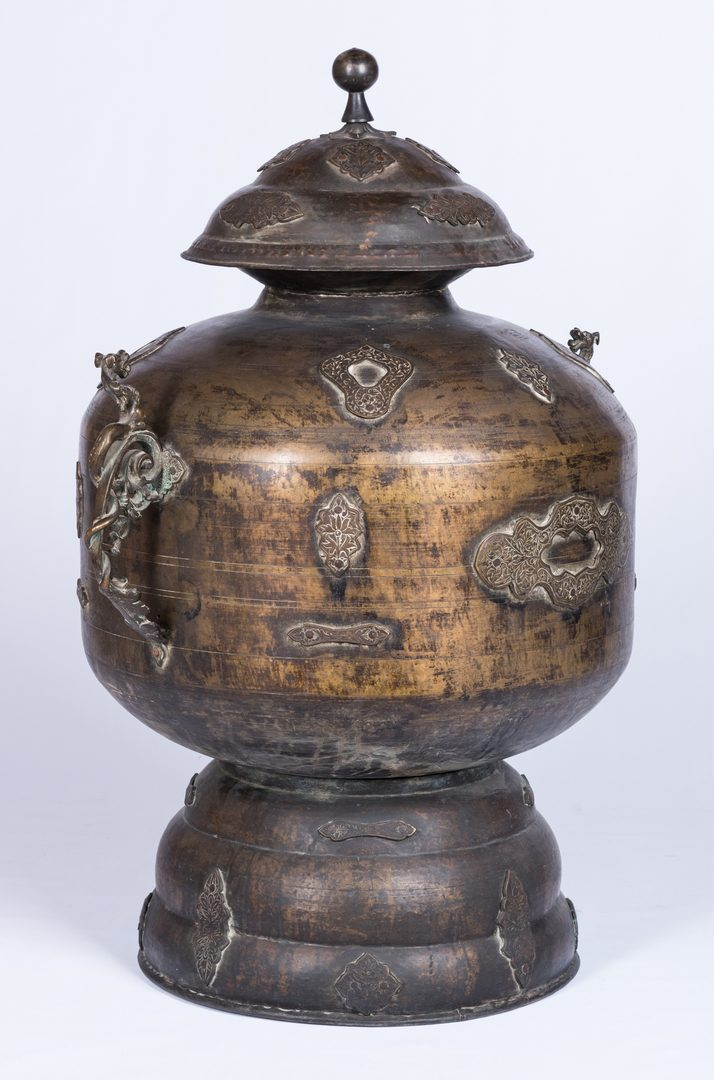 Lot 29: Large Asian Bronze Lidded Storage Vessel, Prob. Chinese