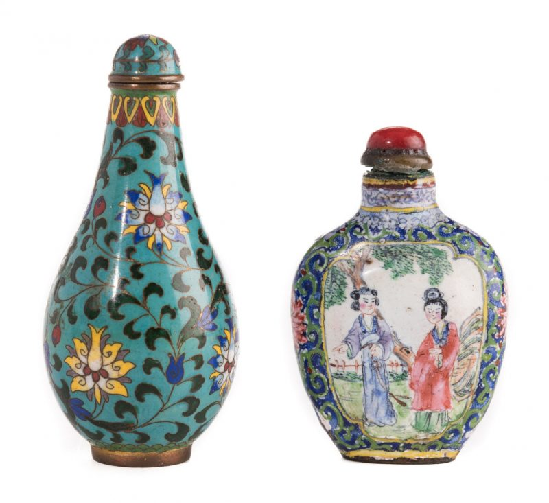 Lot 2: 2 Enamel Snuff Bottles, inc. Qianlong