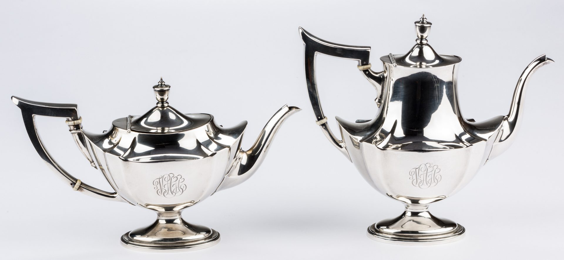 Lot 301: 5 Piece Gorham Sterling Tea Set, Plymouth