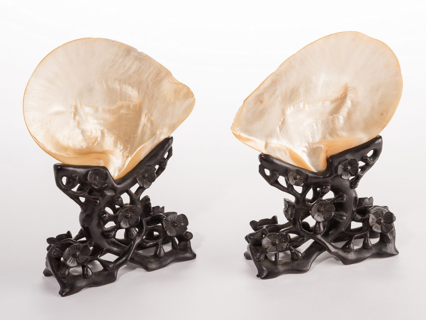 Lot 304: Pr. Chinese Mother of Pearl Shells w/ Carved Stands