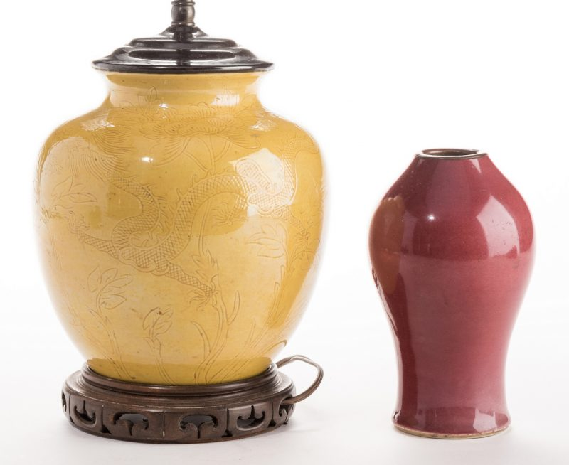 Lot 305: Ming Style Yellow Vase & Oxblood vase, 2 pcs