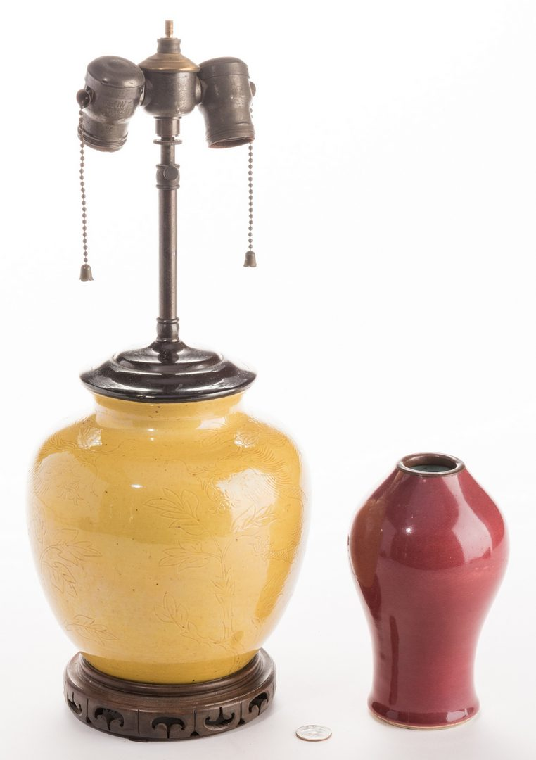 Lot 305: Ming Style Yellow Vase & Oxblood vase, 2 pcs