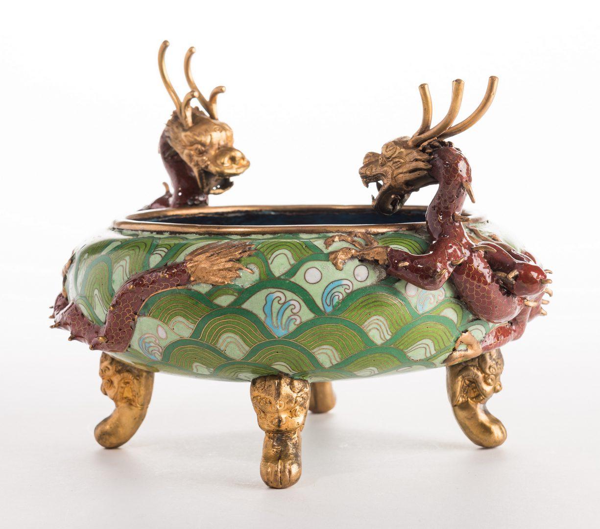Lot 306: Qing Cloisonne Jardiniere, Dragon Mounts