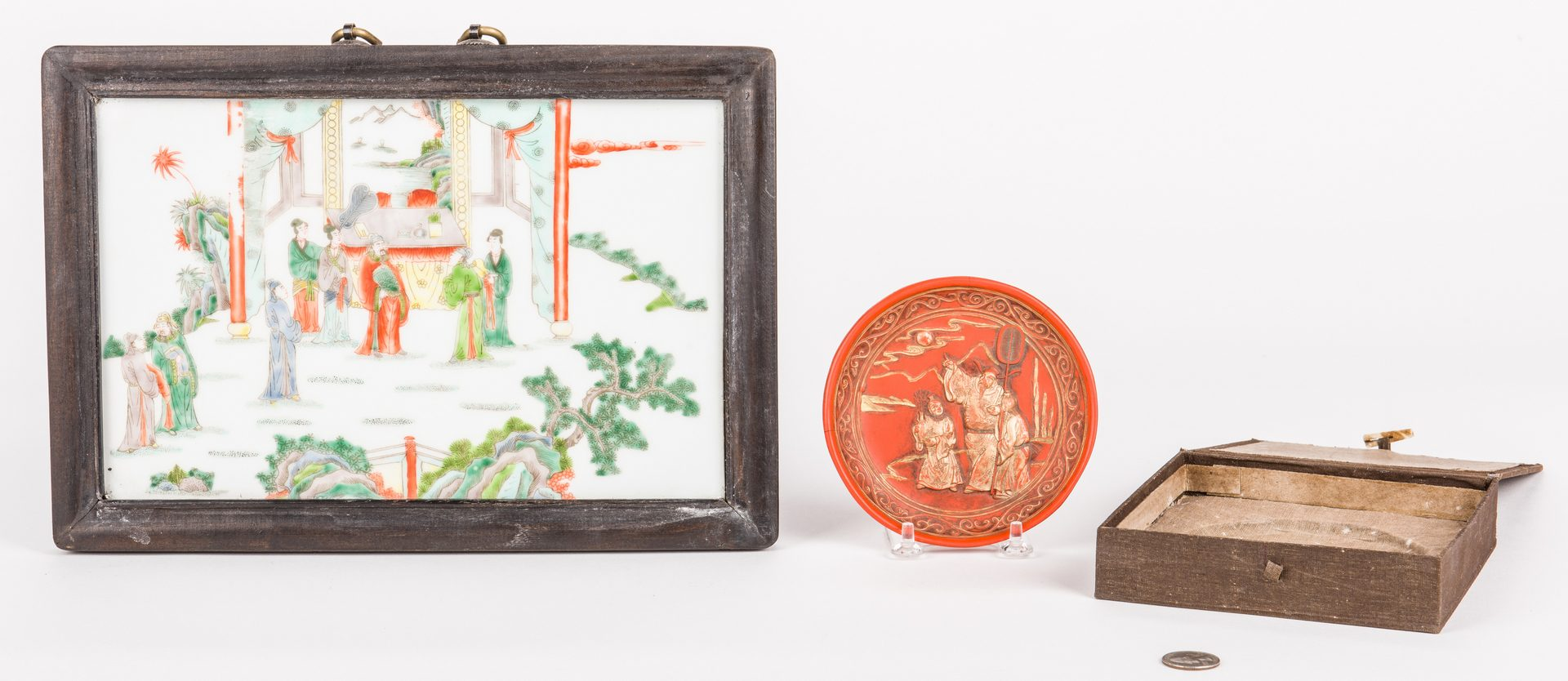 Lot 307: Chinese Famille Verte Plaque & Ink Dish