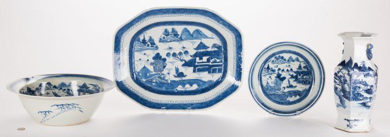 Lot 313: Chinese Export Canton Porcelain, 4 pcs inc. vase
