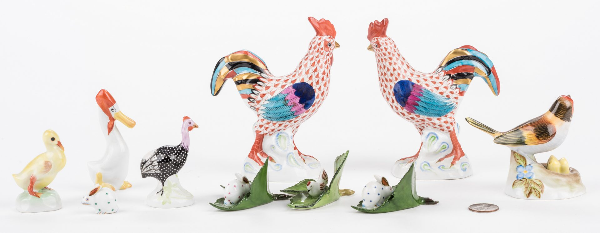 Lot 320: 7 Herend Porcelain Animal Figures & 3 Placecard Holders