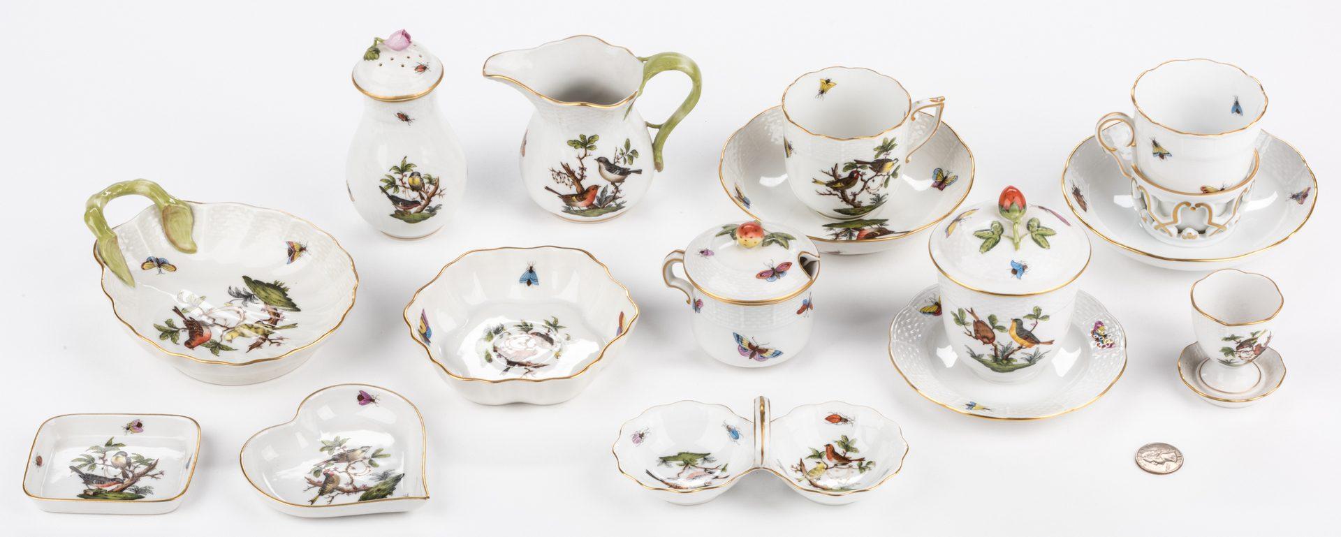 Lot 321: Herend Rothschild Bird Porcelain Dinnerware, 15 pcs
