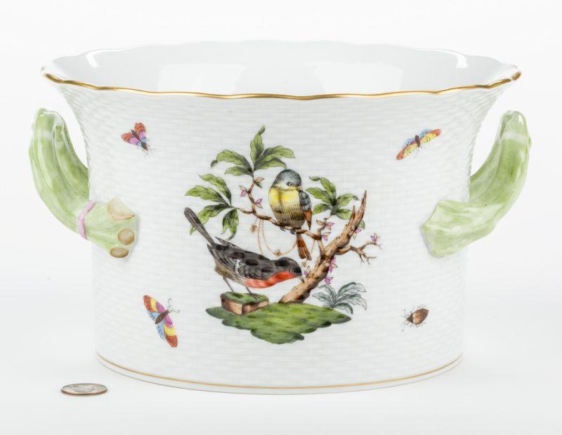 Lot 322: Herend Rothschild Bird Porcelain Handled Cachepot