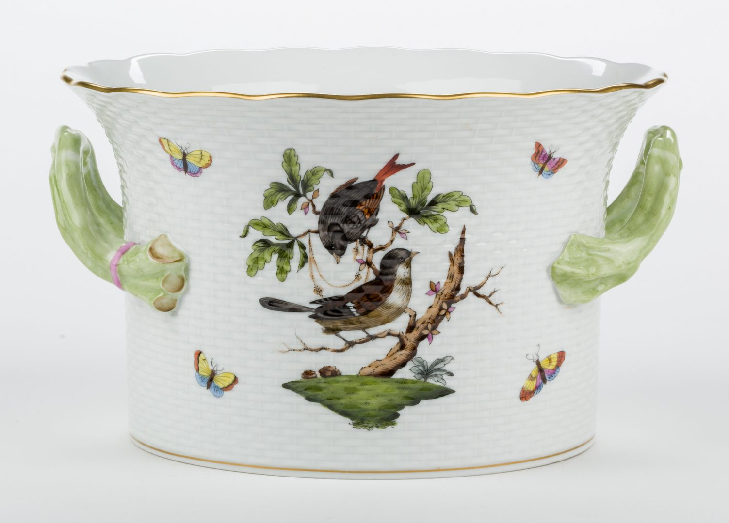 Lot 322: Herend Rothschild Bird Porcelain Handled Cachepot