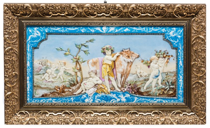 Lot 323: Lebeuf Milliet Creil Relief Porcelain Plaque