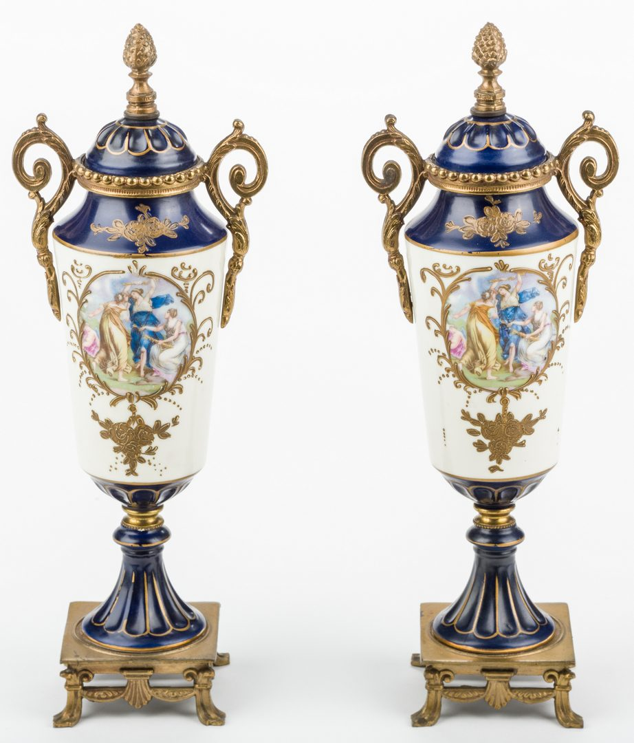 Lot 327: Pair French Gilt Bronze & Porcelain Urns