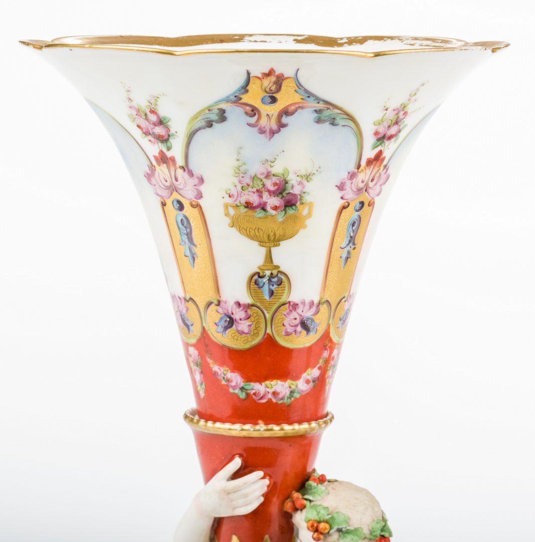 Lot 328: Pair Neoclassical Figural Garniture Vases