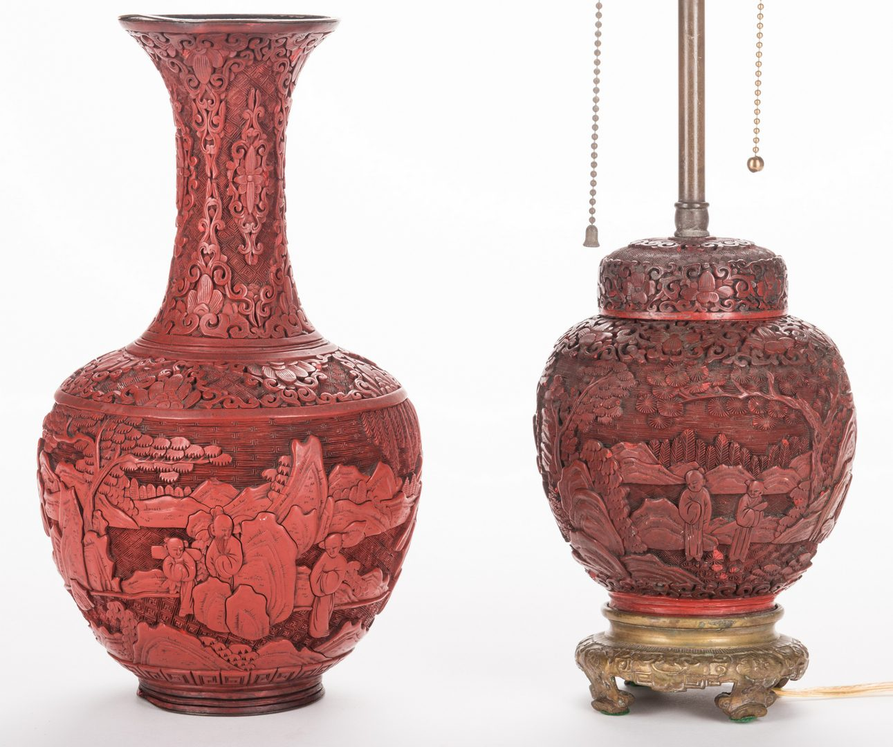 Lot 32: Cinnabar Lacquer Lamp & Vase, 2 items