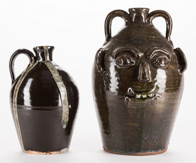 Lot 333: 2 NC Burlon Craig Folk Pottery Jugs, Inc. Face Jug