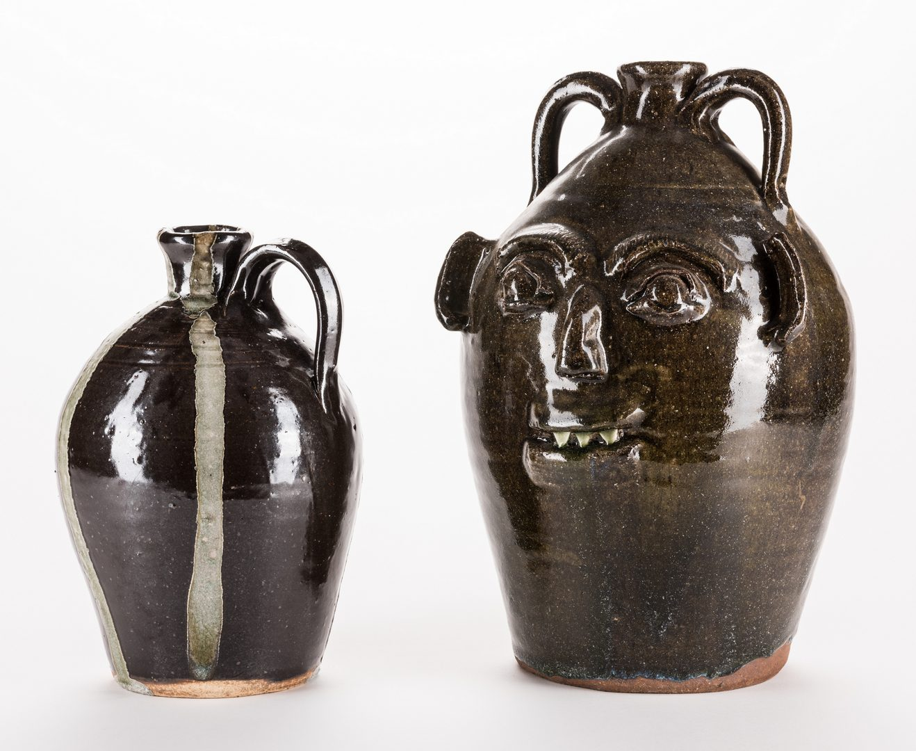 Lot 333: 2 NC Burlon Craig Folk Pottery Jugs, Inc. Face Jug