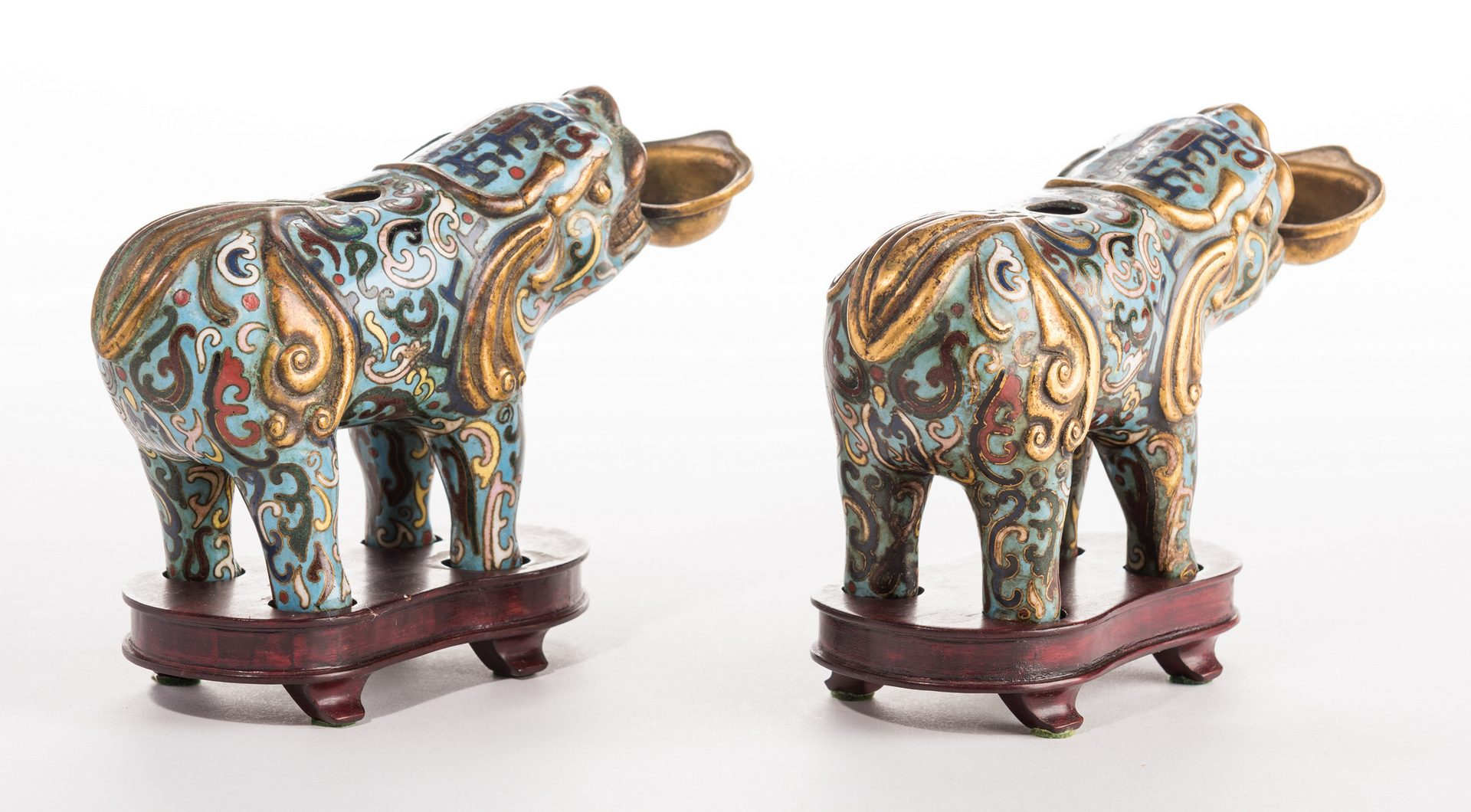 Lot 33: Pr. Cloisonne Aquamanile Figures