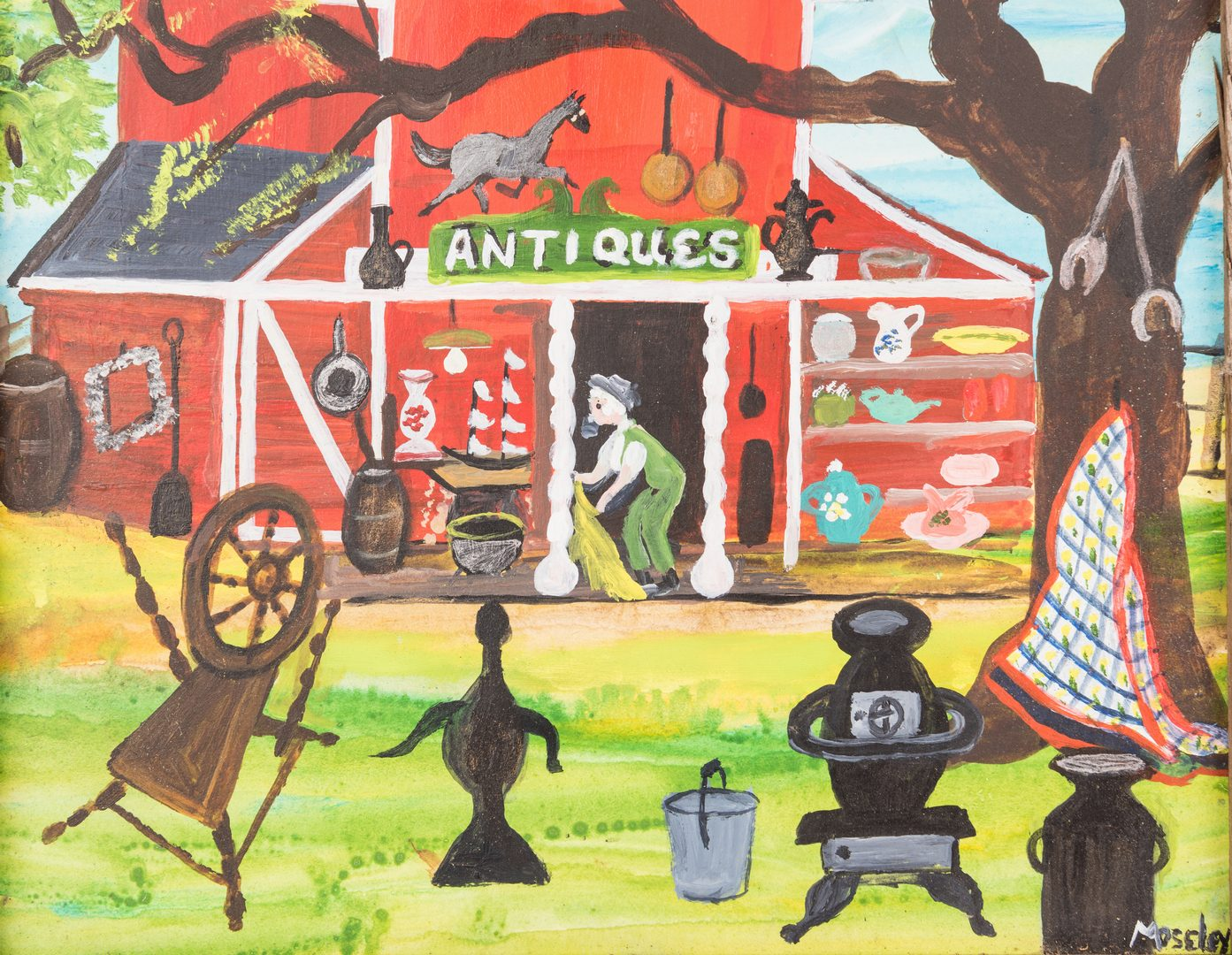 """Lot 350: Alice Moseley painting, """"Antiques"""""""
