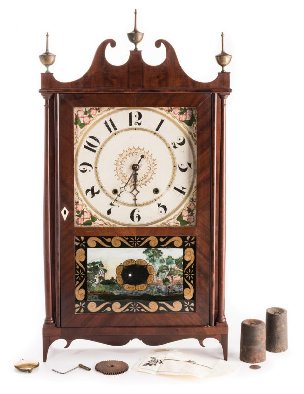 Lot 363: Federal Pillar & Scroll Clock, Doughty Provenance