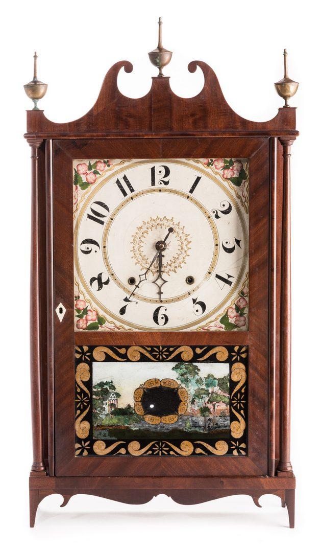 Lot 363: Federal Pillar & Scroll Clock, Doughty Provenance