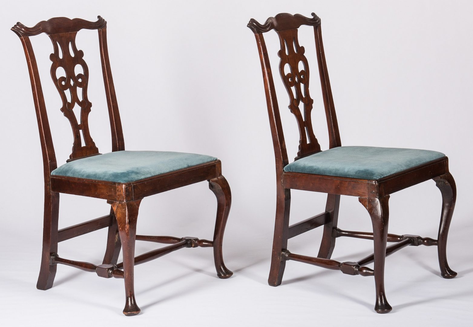 Lot 365: Pair Mass. Transitional Queen Anne Chairs