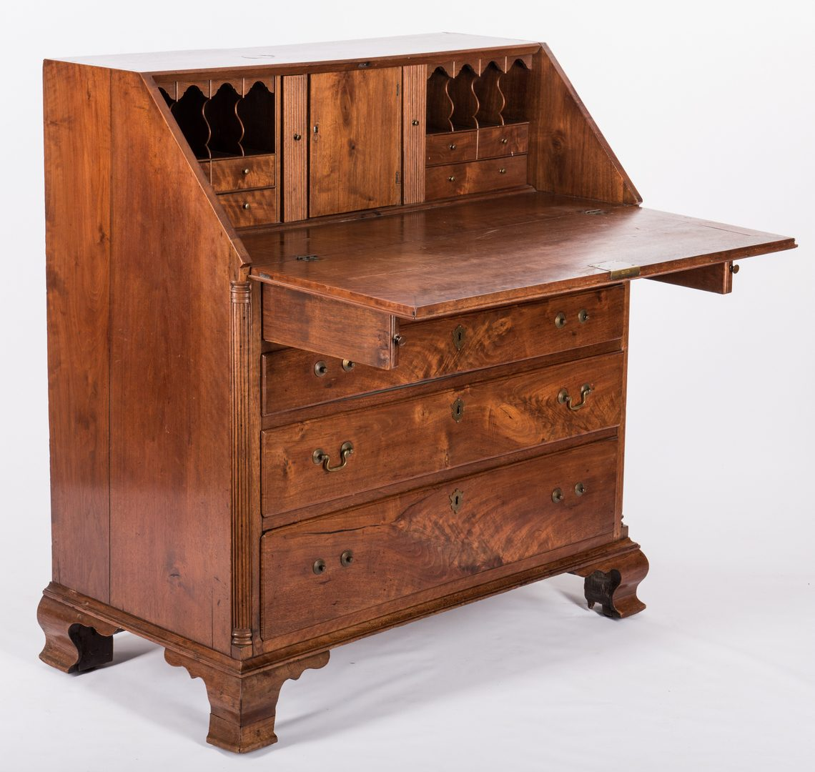 Lot 368: Chippendale Walnut Desk, Mid Atlantic