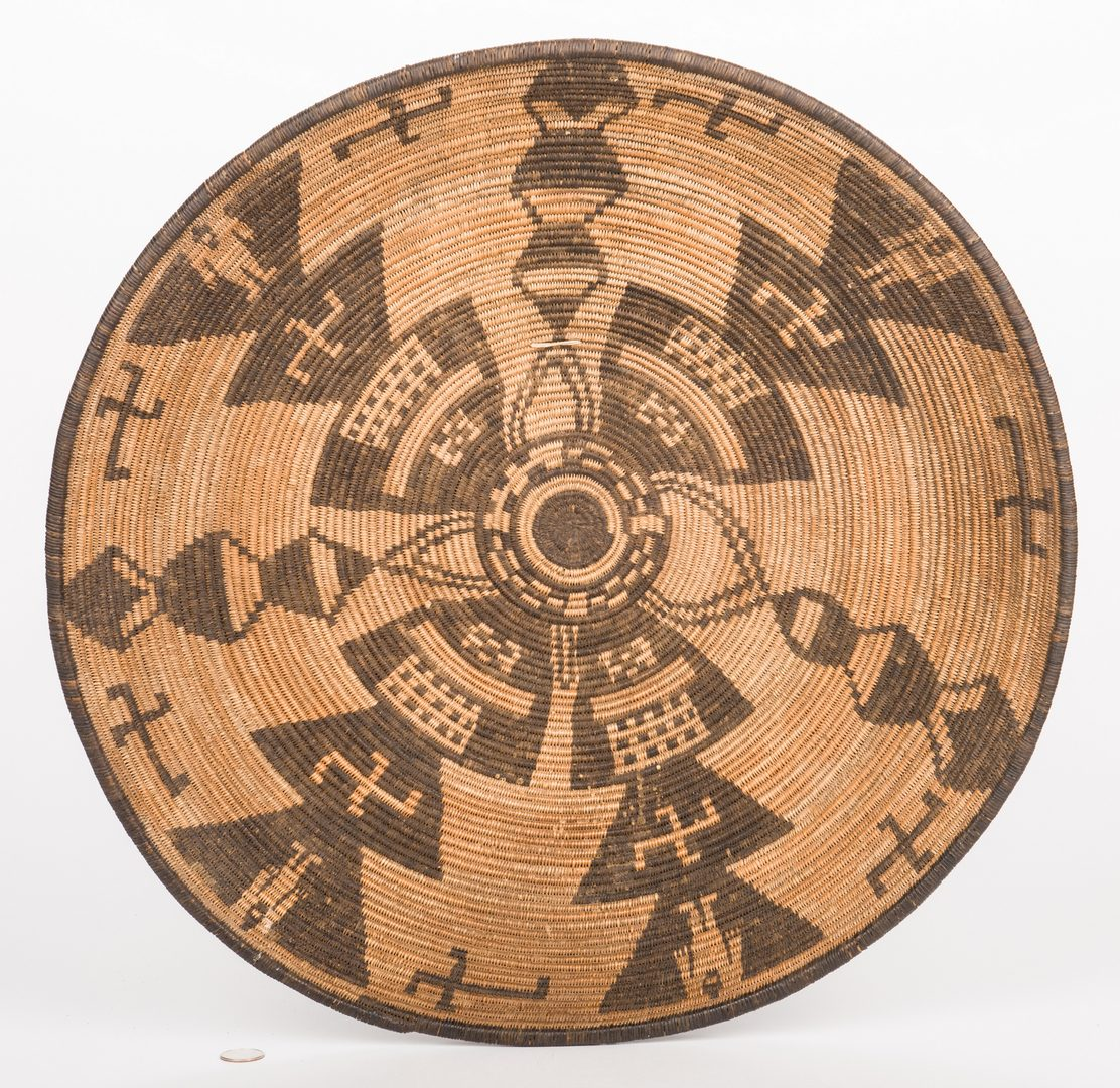 Lot 385: Large Apache Tray Basket w/ Figures; Crosses