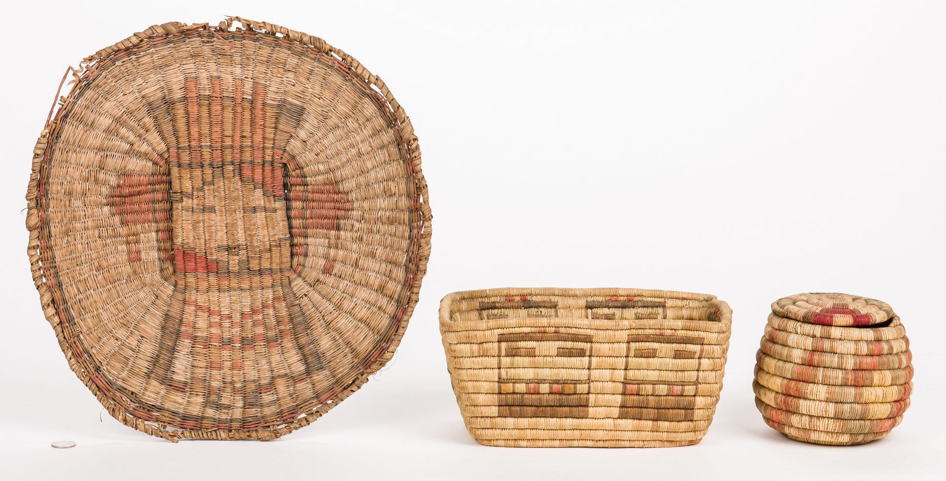 Lot 389: 3 Hopi Basketry Items