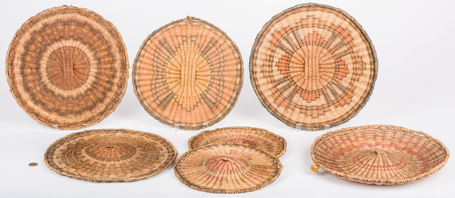 Lot 390: 7 Hopi Mesa Wicker Basket Plaques