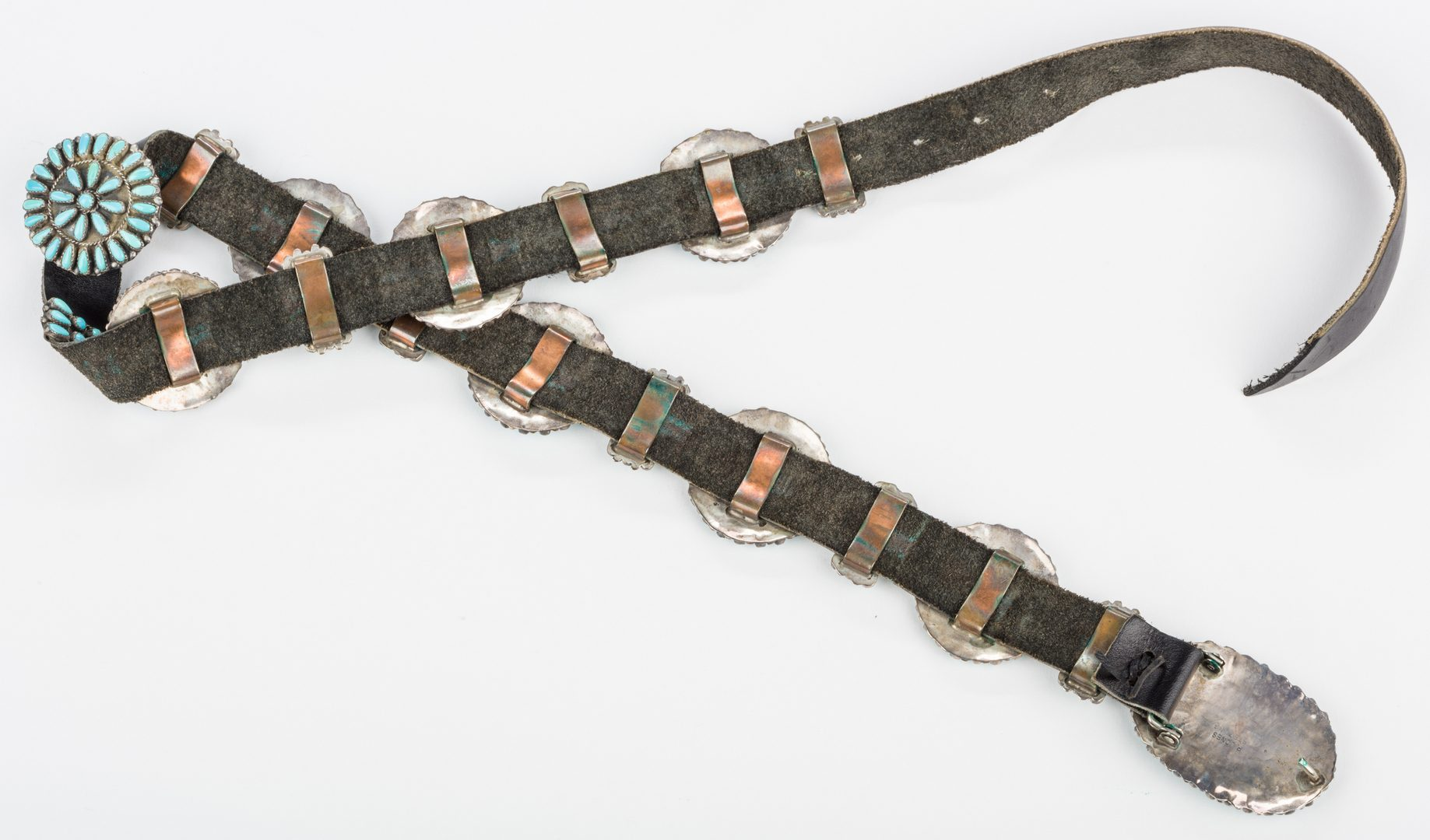 Lot 394: Navajo Sterling Turquoise Concho Belt