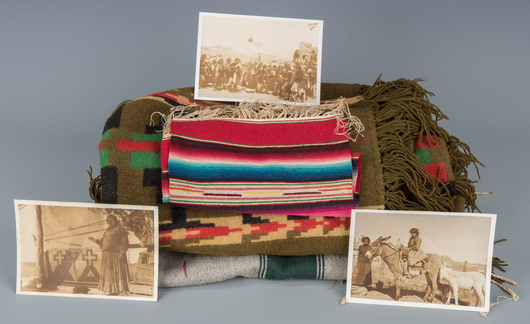 Lot 396: 3 Harmon Marble Native American Photos plus Textiles