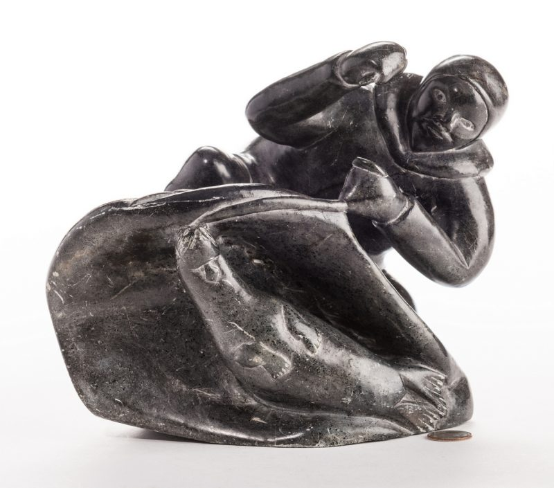 Lot 397: Large Soapstone Inuit Carving, Eliassiapik