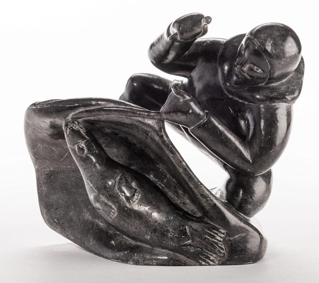 Lot 397: Large Soapstone Inuit Carving, Eliassiapik