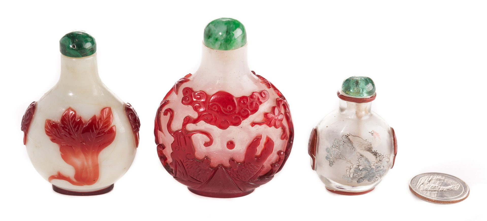 Lot 39: 3 Chinese Glass Snuff bottles