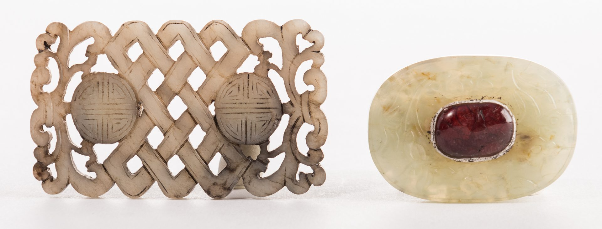 Lot 3: 2 Chinese Carved Jade Belt Ornaments